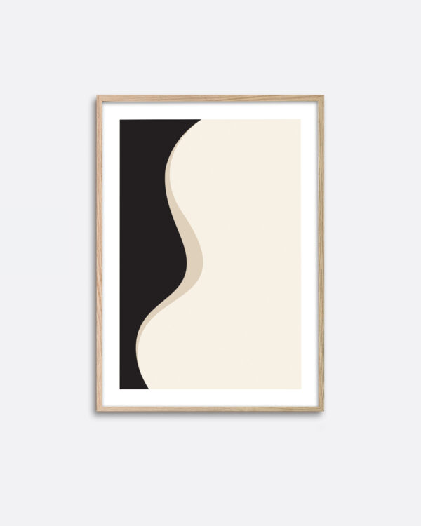 An oak frame hanging on a wall with an art print with a minimalistic expression with black and beige colours