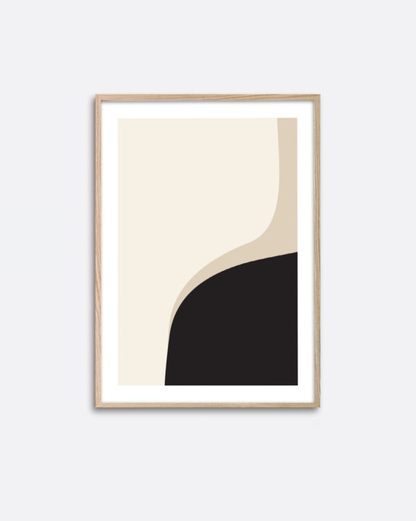 An oak frame hanging on a wall with an art print inside with a minimalistic graphic expression of black and beige colours