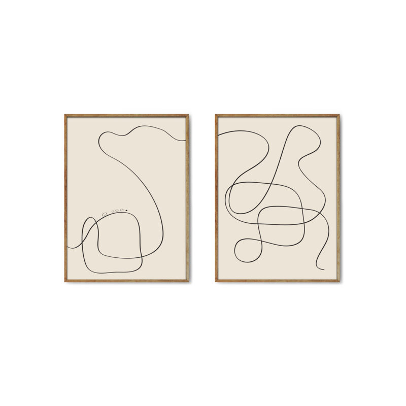 Art prints with black thin pen stroke on beige background