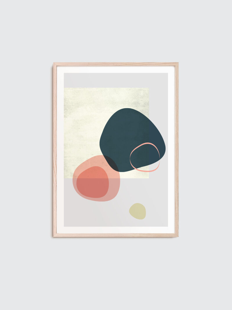 Poster with coral and beige objects and grey background
