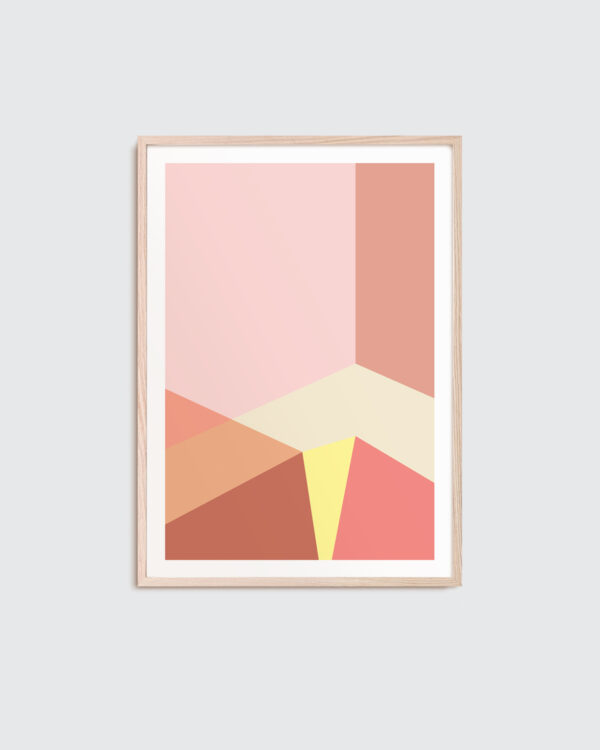 oak frame with art print in coral colours and geometric shapes