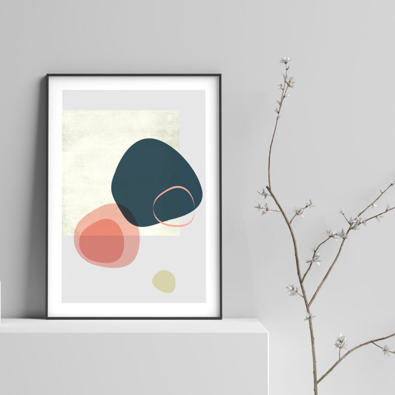 Poster with organic shapes in coral and beige colours