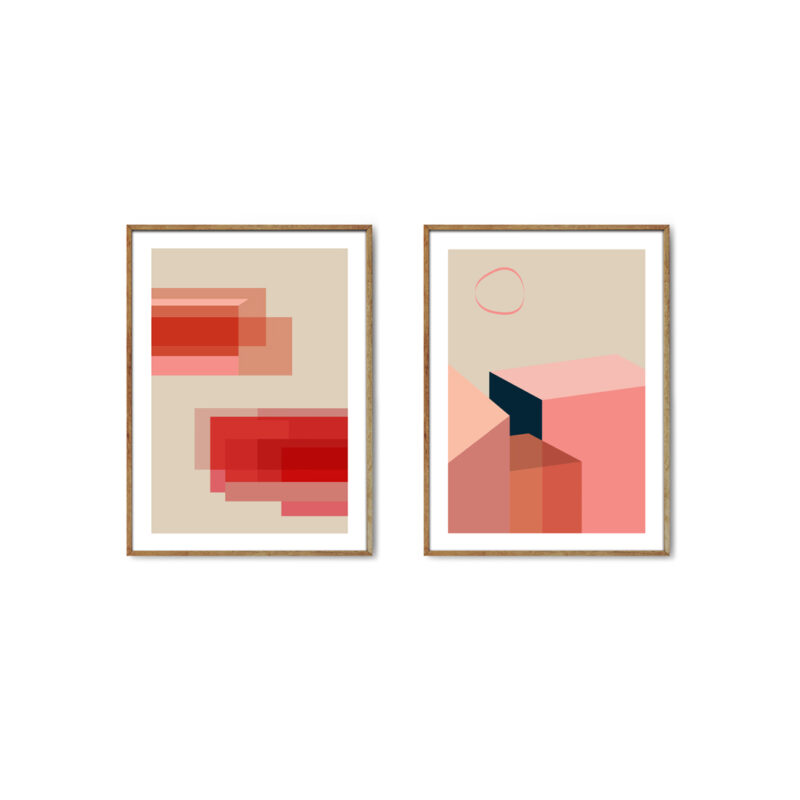 Two posters with artwork in geometric shapes in coral and beige colours