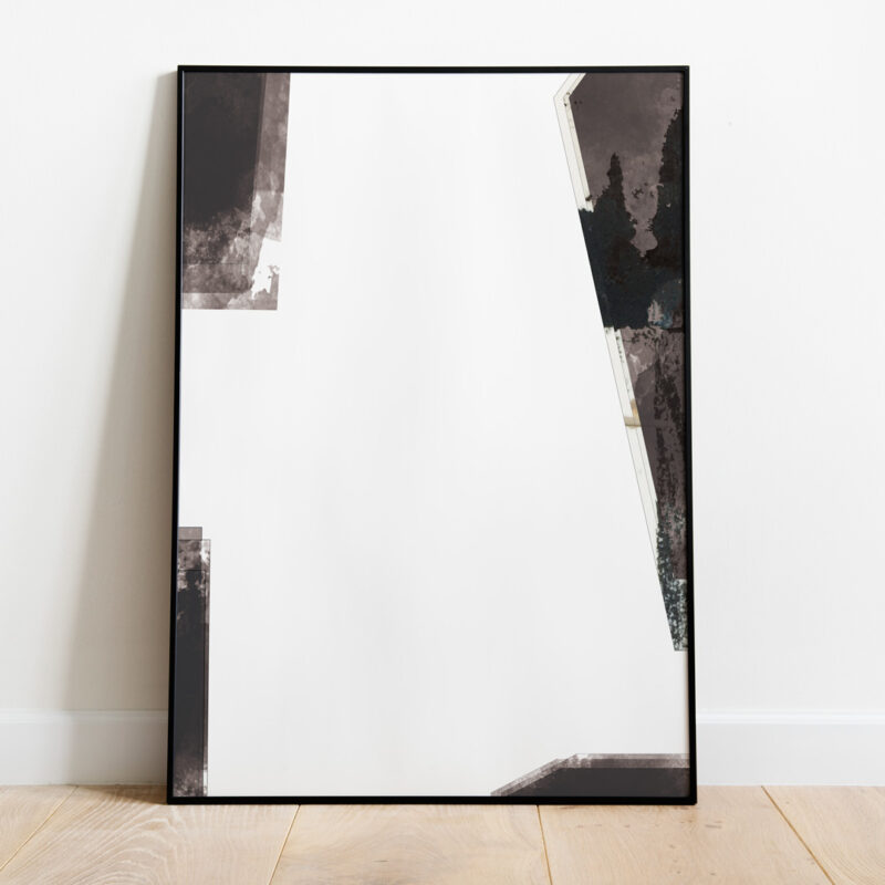 Black frame with an art print in mixed media in white and black colours