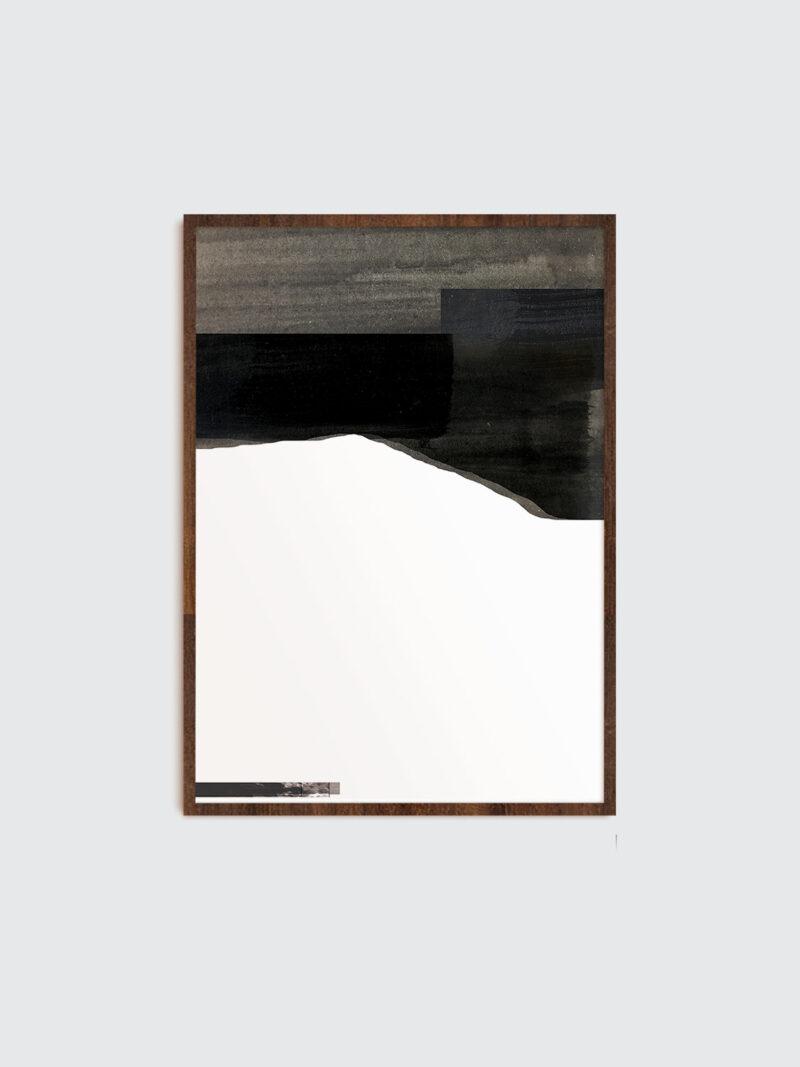 Selected Blacks 02 art print in dark wooden frame