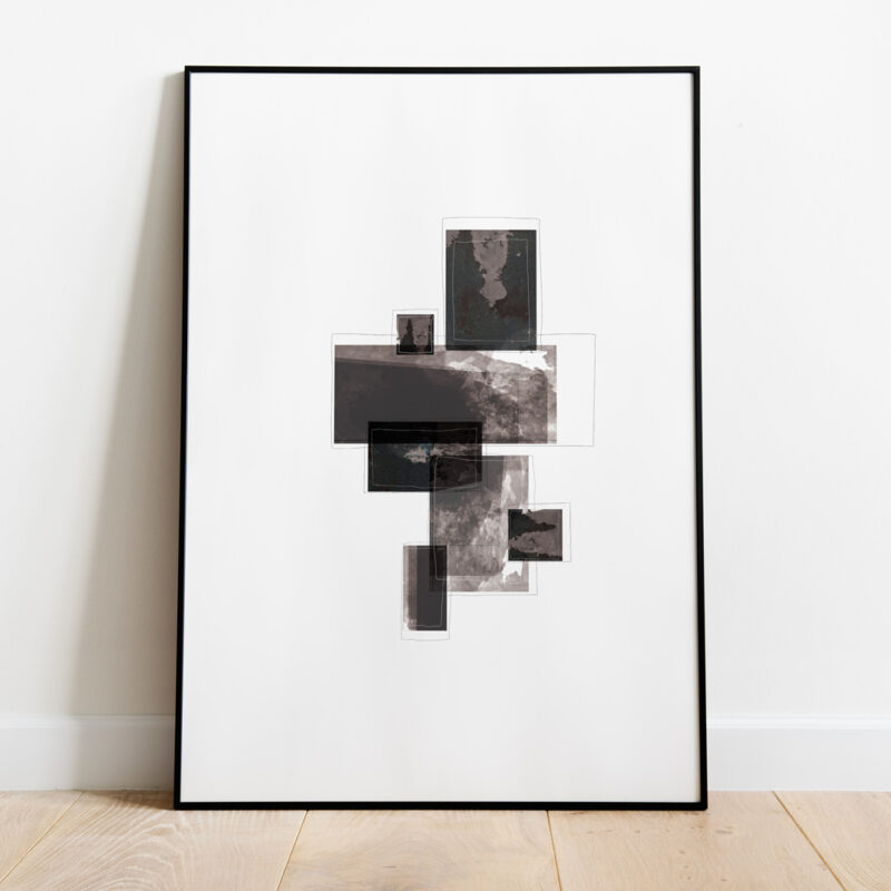 black thin frame standing on floor with a black art print with the title Selected Blacks 03