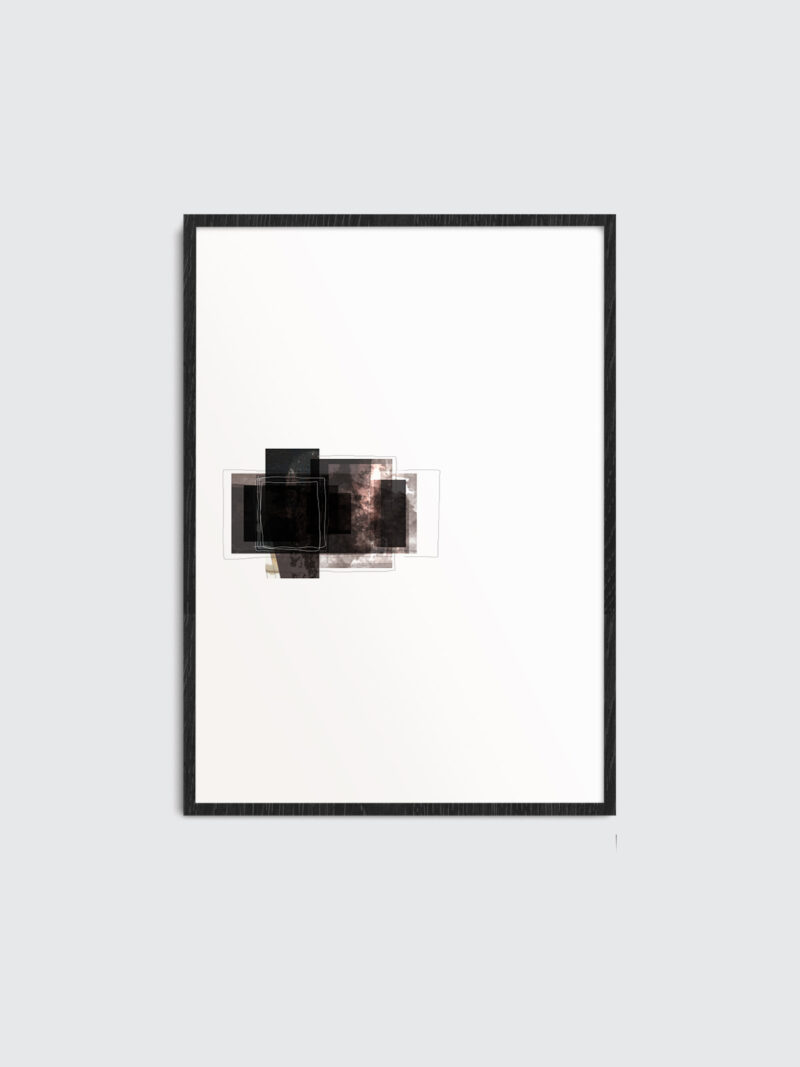 Black wooden frame with a minimal art print inside with the title Selected Blacks 05