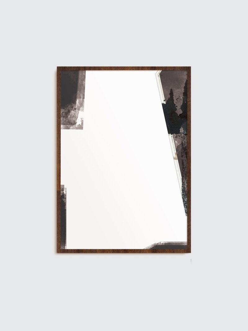 Selected Blacks 01 art print in dark wooden frame