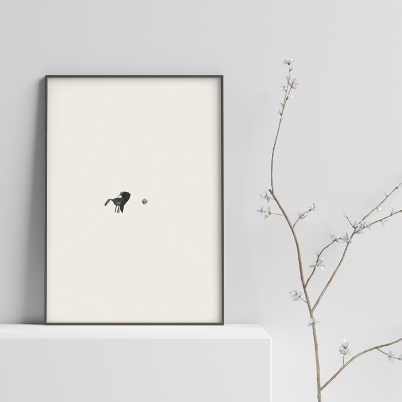 art print name: The Dot, with a beige background and a little bird standing in front of a dot