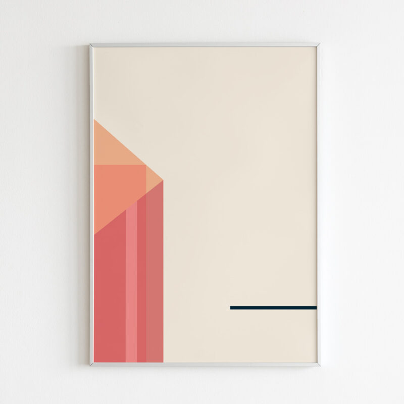 thin white frame with an contemporary art print inside with the title Coral Objects 07