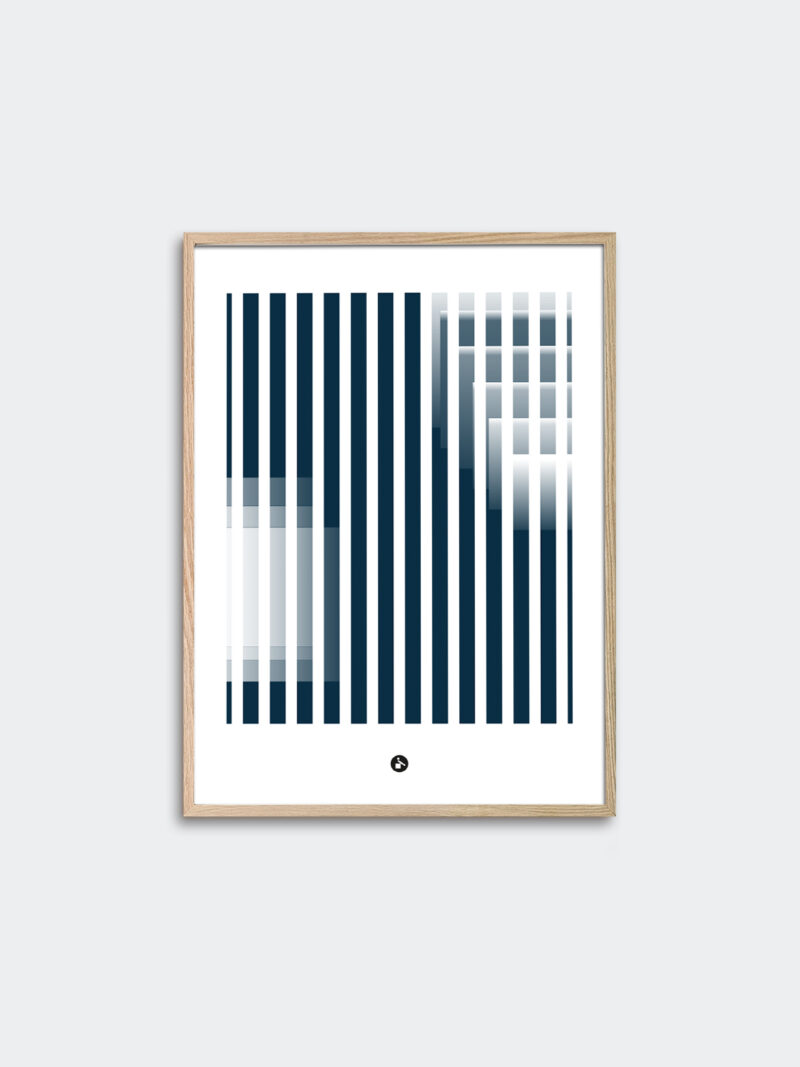 a thin oak frame with an art print inside with the title; Echo 01
