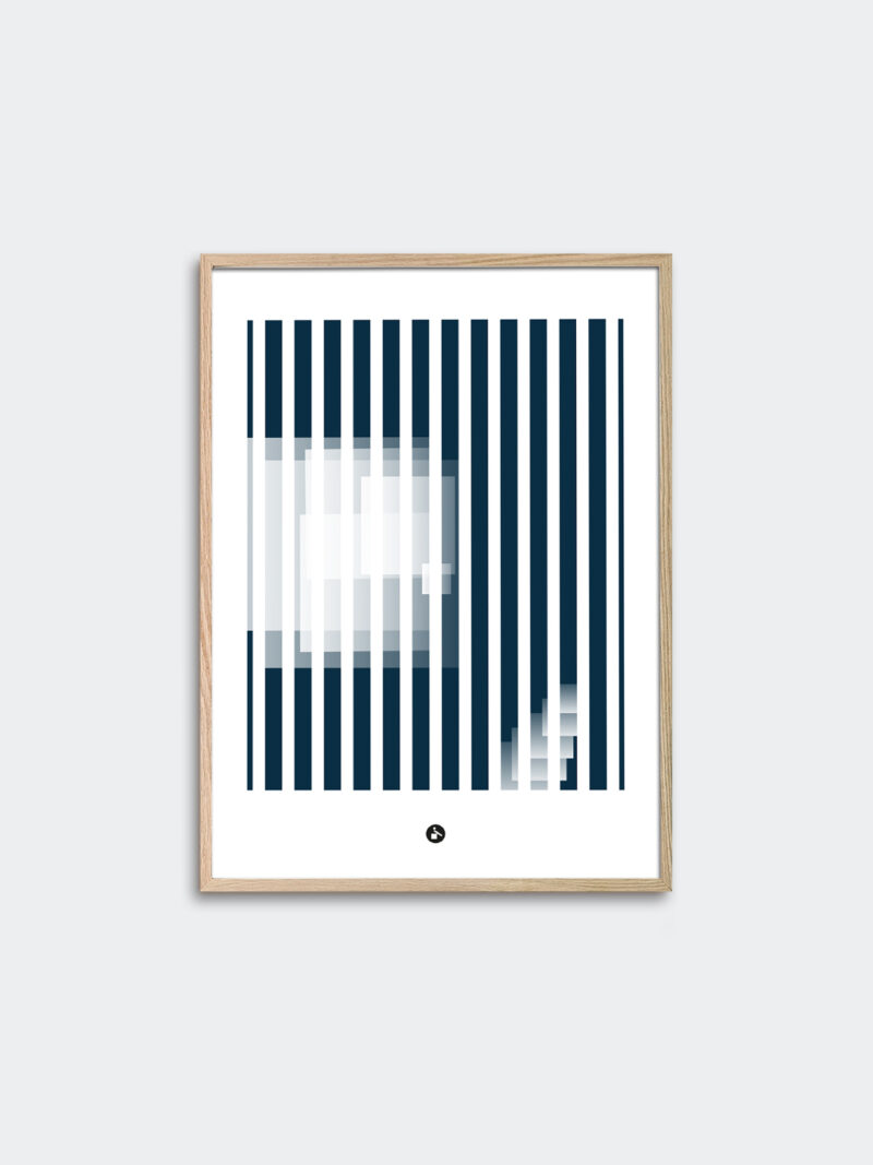 a thin oak frame with an art print inside with the title; Echo 02