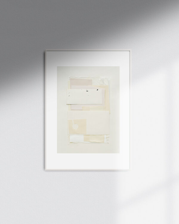 White Poem is the name of this artwork, created as a paper collage in white and beige color tones