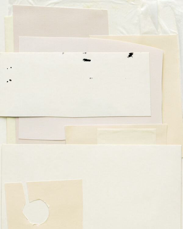 White Poem close up detail, an artwork created as a paper collage in white and beige color tones
