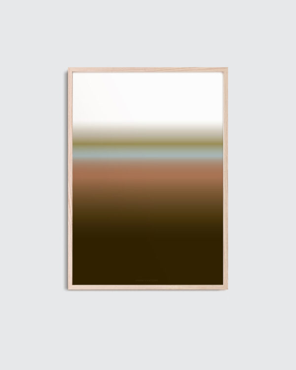 A thin oak frame with the art print inside with the title; Dusk 01, in a dark brown and terracotta color palette.