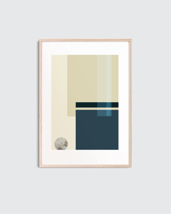 A thin oak frame with the art print inside with the title; Blue Notes 01, an artwork in beige and blue colors.