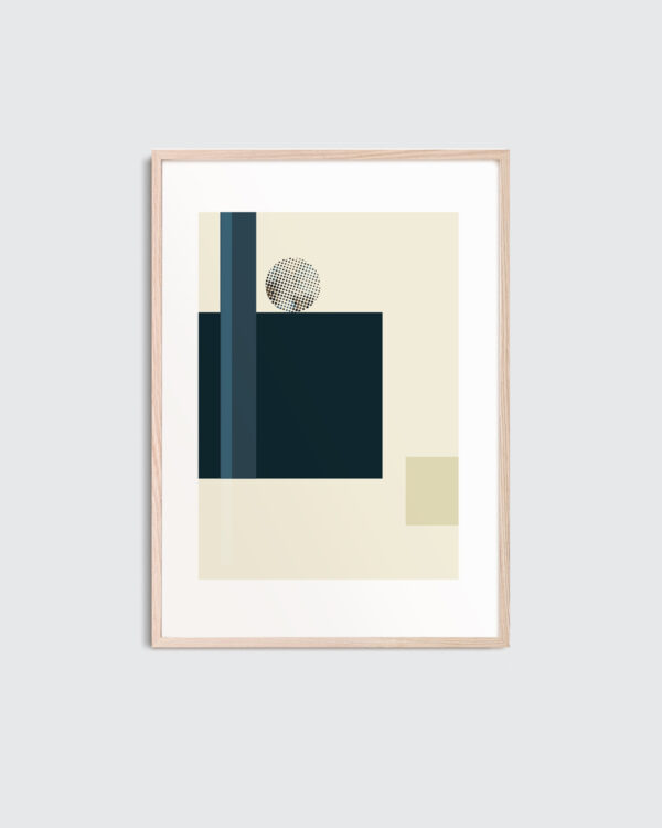 A thin oak frame with the art print inside with the title; Blue Notes 02, an artwork in beige and blue colors.