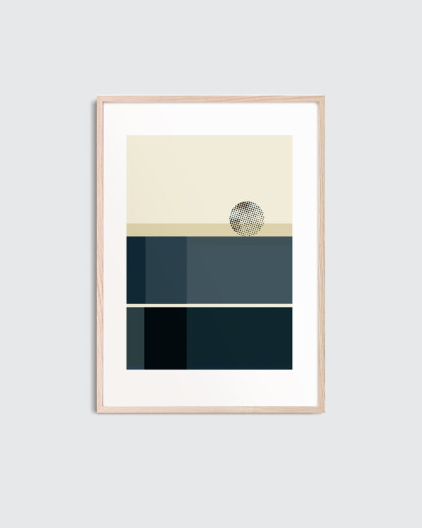 A thin oak frame with the art print inside with the title; Blue Notes 02, an artwork in beige and blue colors