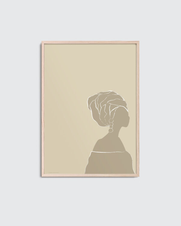 Frey art print is the title of this print inside the oak frame. Frey art print has a beige color palette and a minimal visual expression