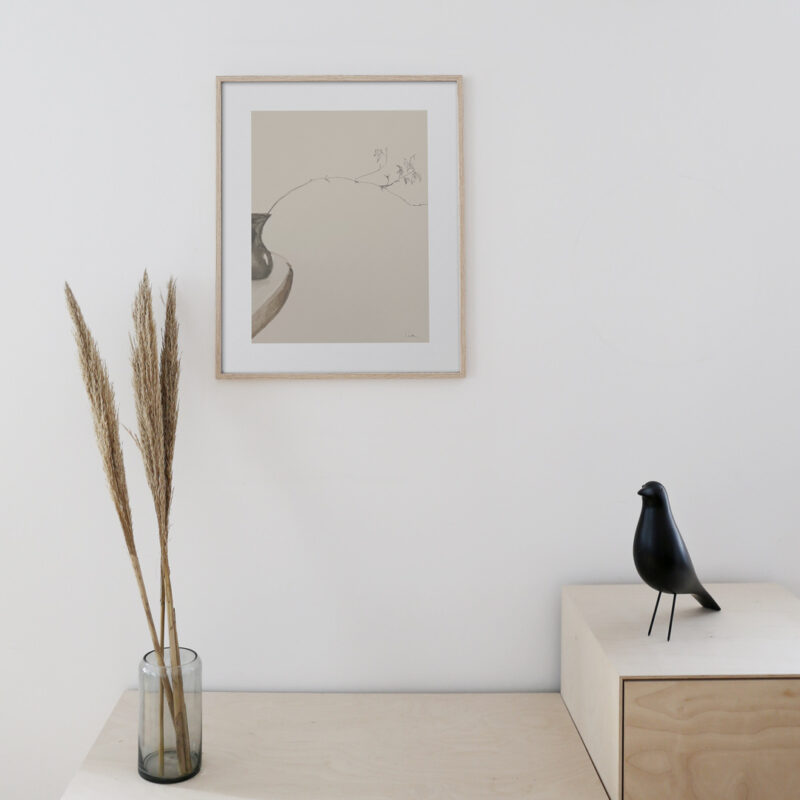 The art print: The Branch 01 hanging on a white wall in a oak frame