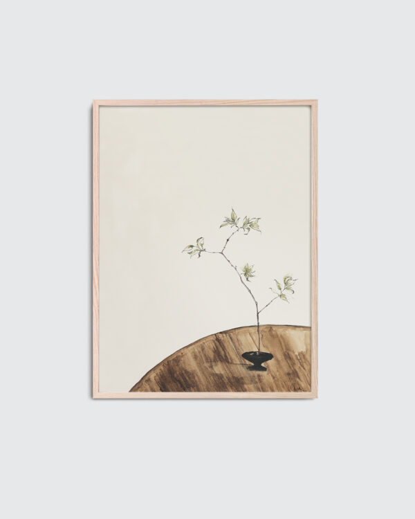 The Branch 02 is the name of this art print inside the oak frame. The poster The Branch 02 is created in beige and olive green colors. The poster has a calm, warm and minimalist expression