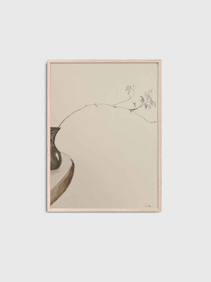 The Branch 01 is the title of the art print inside an oak frame, beige and brown colors