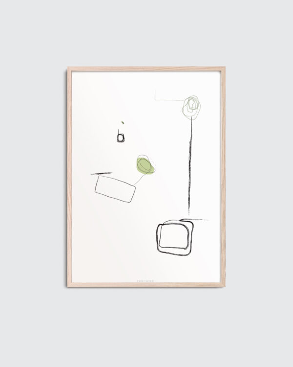 147 Green is the name of the art print inside a thin oak frame. 147 Green has a graphic, minimal clean expression with black and white as the basic colors and a color spot of olive green