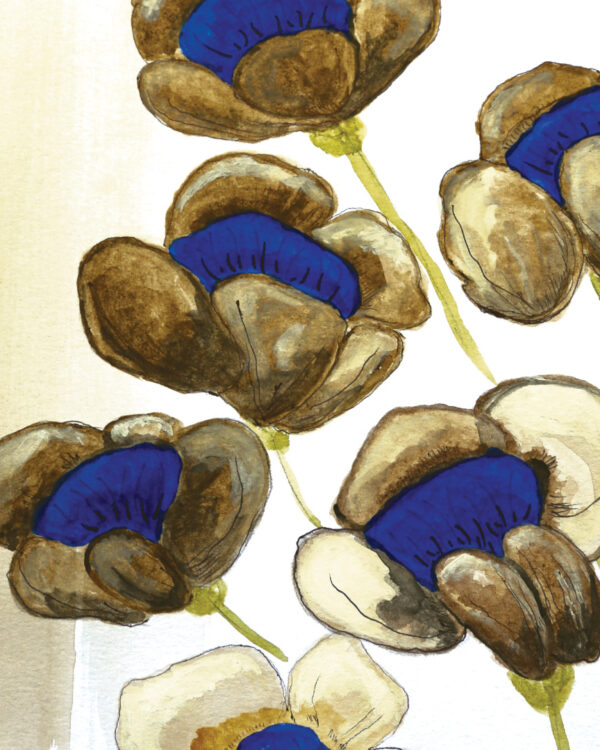 Electric Blues 02 close up detail of blue and beige watercolor flowers